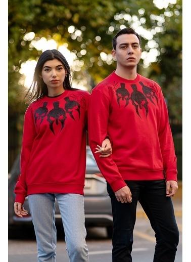 Bernotti 79 Kırmızı Baskı Detaylı Sıfır Yaka Kadın Sweatshirt Kırmızı